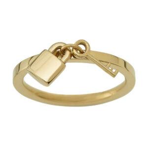 EDBLAD Secure Δαχτυλίδι Επιχρυσωμένο με Μικρή Κρεμαστή Κλειδαριά