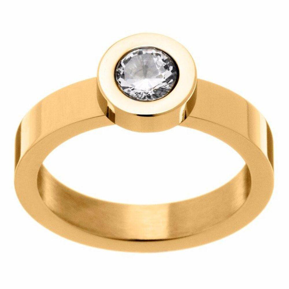 EDBLAD Steila Δαχτυλίδι Επιχρυσωμένο με Λευκό Ζιργκόν Μ