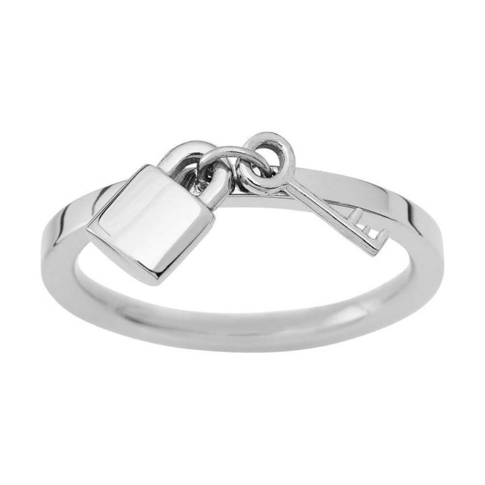 EDBLAD Secure Δαχτυλίδι Ασημί με Μικρή Κρεμαστή Κλειδαριά